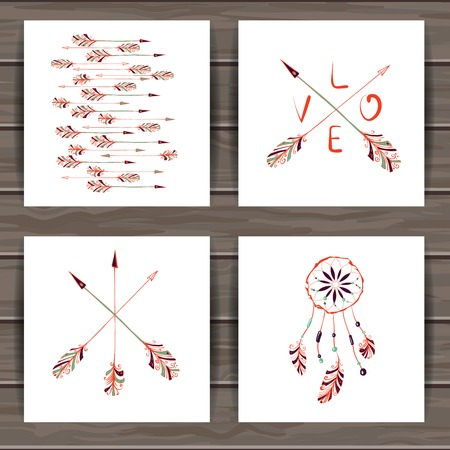 valentines: Happy Valentines day cards with hand drawn Indian-American dream catcher and arrows. Wood plank vector background is in the separate layer.