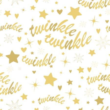 lucero: Patr�n sin fisuras con las estrellas del oro y del centelleo del centelleo letras. dibujado a mano dise�o de la ducha del beb� Lullaby. Vectores