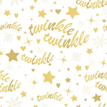 night sky: Seamless pattern with gold stars and twinkle twinkle lettering. Hand drawn Lullaby Baby shower design.