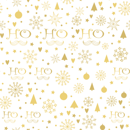 ho: Christmas seamless background with golden Ho - Ho - Ho lettering, Snowflakes, Christmas trees, Stars. Hand drawn design for winter holidays. Illustration