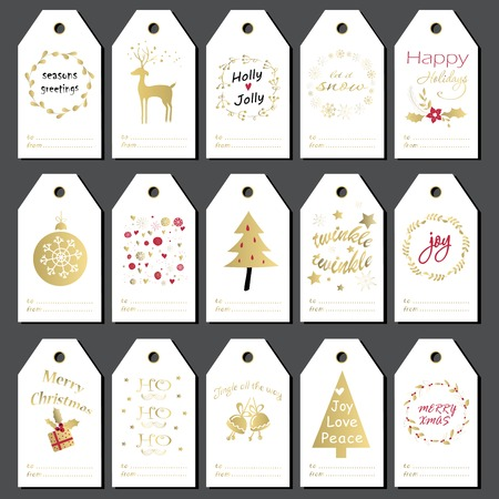 holiday background: Christmas gift tags, stickers and labels. Hand drawn design for winter holidays.
