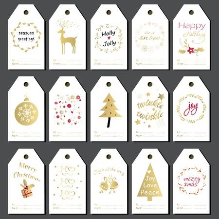 Kerst cadeau labels, stickers en labels. Hand getrokken ontwerp voor de winter vakantie.