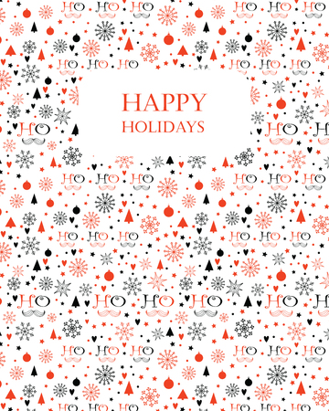 ho: Christmas background with Ho Ho Ho lettering, Snowflakes, Christmas trees, Stars. Hand drawn design for winter holidays. Seamless pattern is masked. Illustration
