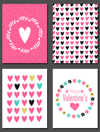 Valentines Day Card design. Floral wreath and multicolored hearts. Seamless pattern is masked.