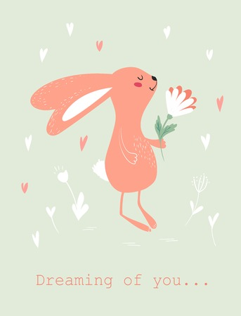 Dreamy bunny with flower Valentines Day Card design.