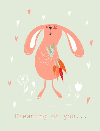 Dreamy bunny with carrots Valentines Day Card design. Illustration