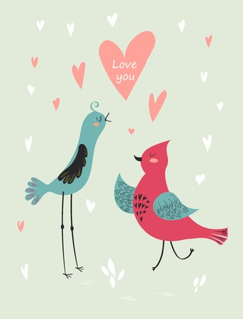 Valentines Day Card with two birds and hearts.