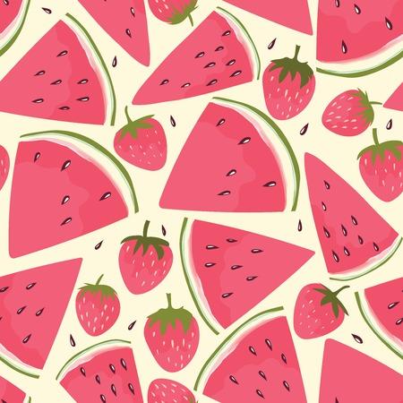 Watermeloen slices en aardbei achtergrond. hand getrokken ontwerp voor textiel, inpakpapier, wenskaarten of uitnodiging. Stock Illustratie