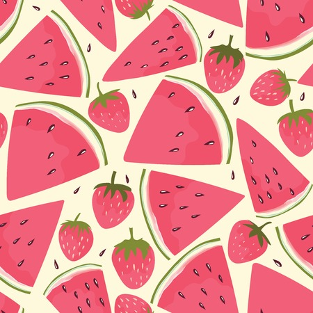 raspberry pink: Watermelon slices and strawberry background. Hand drawn design for fabric, wrapping paper, greeting cards or invitation.