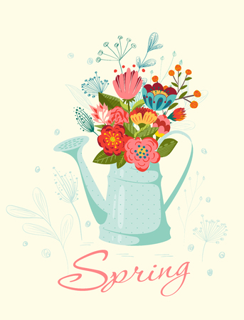 watering pot: Happy Easter card. Vintage  floral card with flowers in  watering-pot. Illustration