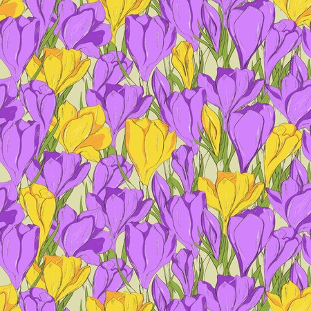Seamless pattern with hand drawn crocus spring flowers.