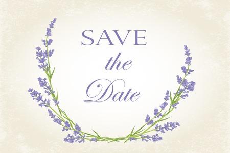 Thank you card with purple lavender flower. Vintage background. illustration. Ilustracja