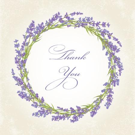 Thank you card with purple lavender flower. Vintage background. illustration. Ilustrace
