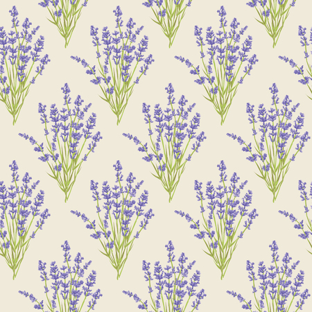 Seamless pattern with lavender flowers .  design for Thank you card, Greeting card or Invitation, wrapping paper or wallpaper. illustration.