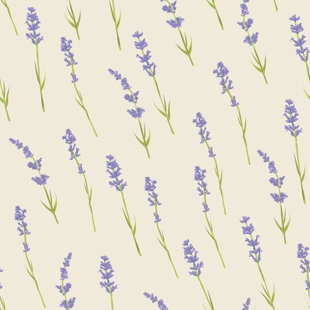 Seamless pattern with lavender flowers .  design for Thank you card, Greeting card or Invitation. Vetor illustration. Ilustracja