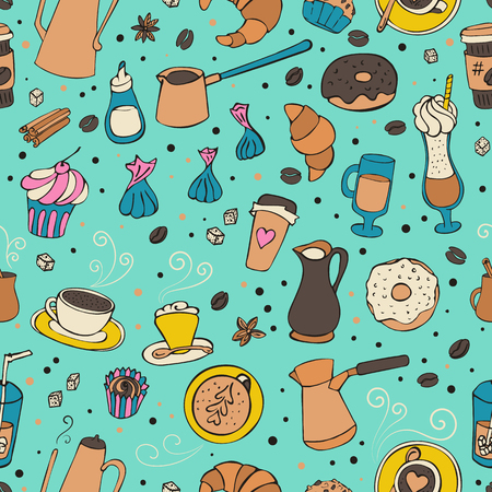Seamless illustration with coffee, spices, sweers and bakery.