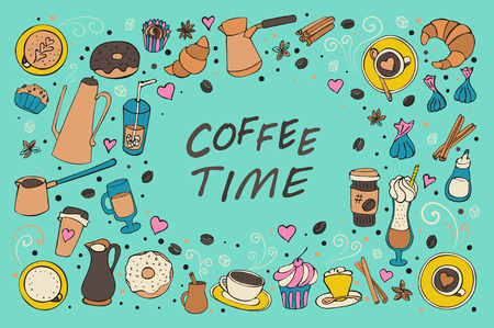 collection of doddle coffee, spices, sweets and bakery icons. Çizim