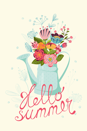 watering pot: Vintage floral Summer card with flowers in watering pot. Hand written text Hello summer. Illustration