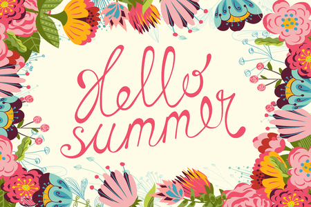 Vintage floral Summer card with hand written text Hello summer. Illustration
