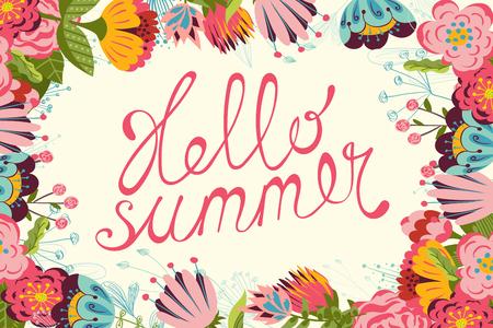 Vintage floral Summer card with hand written text Hello summer. 矢量图像