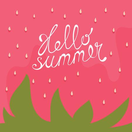 Strawberry achtergrond. Wenskaarten of uitnodiging met de hand geschreven tekst Hallo zomer. Stock Illustratie