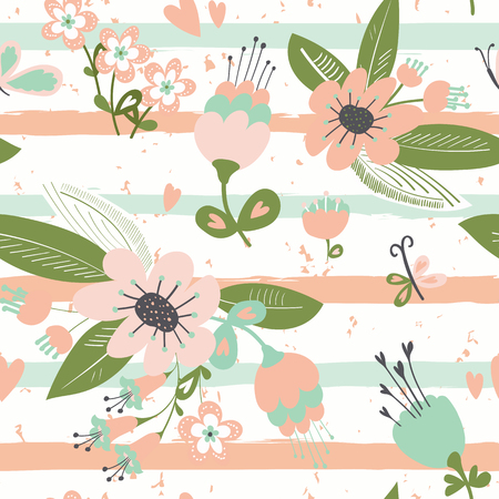blosom: Flowers on striped seamless pattern. Horizontal brush strokes repeating background.