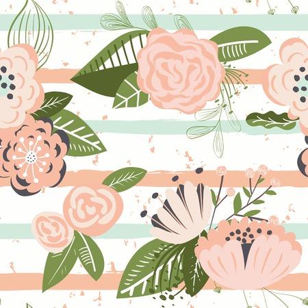 blosom: Flowers on striped seamless pattern. Horizontal brush strokes repeating background. Vector illustration.