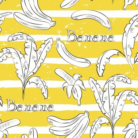 Bananas on yellow stripes. Horizontal brush strokes seamless pattern.