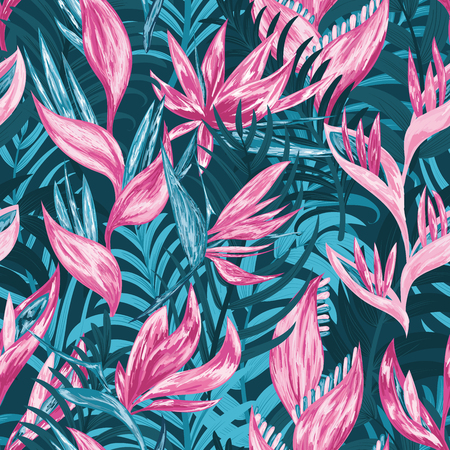 Hand draw tropical flowers and leaves seamless pattern.
