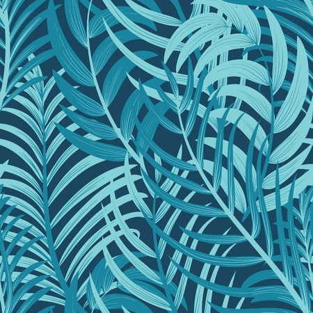 Exotic Tropical Leaves Summer Seamless Background.