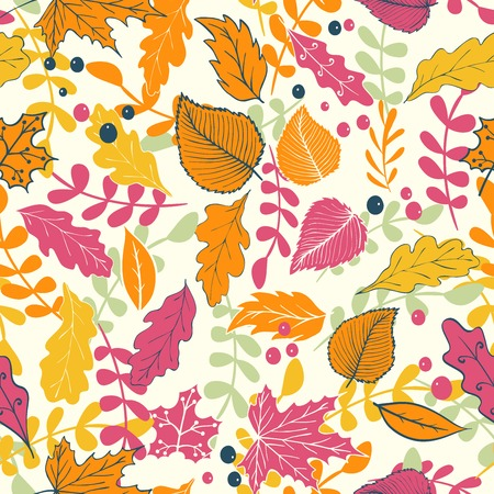 falling down: Seamless background for Thanksgiving holiday with autumn leaves and berries falling down.
