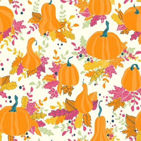 gobble: Seamless pattern with autumn pumpkins and leaves. Hand drawn holiday design for Thanksgiving Illustration
