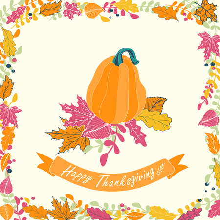pumpkin patch: Happy Thanksgiving card design. illustration of pumpkin with flowers, leaves and ribbon. Illustration