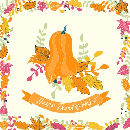 Happy Thanksgiving card design.illustration of pumpkin with flowers, leaves and ribbon.