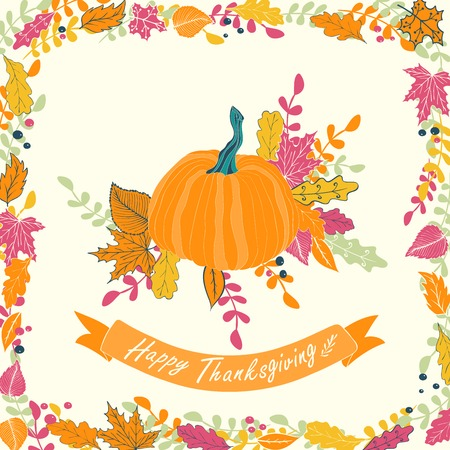 gobble: Happy Thanksgiving card design. illustration of pumpkin with flowers, leaves and ribbon. Illustration