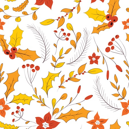 autumn garden: Seamless floral pattern. Hand drawn autumn garden with leaves, berries and branches