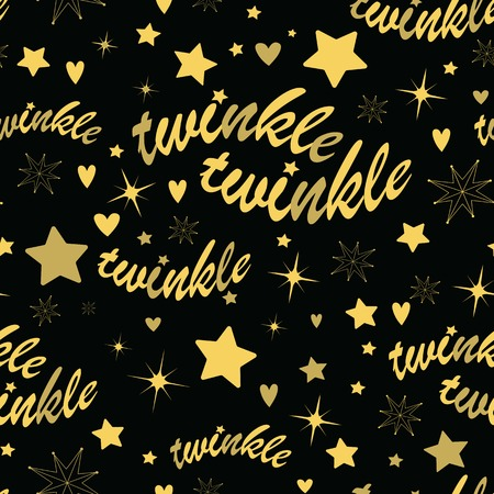 lullaby: Seamless pattern with gold stars and twinkle twinkle lettering. Hand drawn Lullaby Baby shower design.
