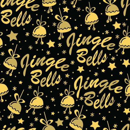 jingle bells: Christmas seamless background with golden bells, stars and Jingle Bells lettering. Hand drawn design for winter holidays.