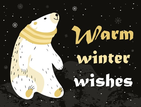 snood: Christmas card with cute polar bear in scarf. Warm winter wishes card design. Vector illustration. Illustration