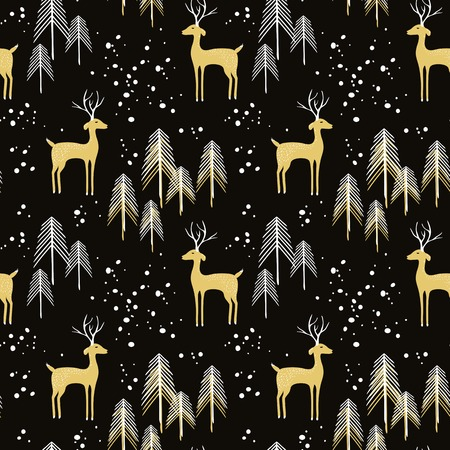 Deer in winter pine forest. Seamless pattern with hand drawn design for Christmas and New Year greeting cards, fabric, wrapping paper, invitation, stationery. Grunge seamless vector texture is in the separate layer. 向量圖像