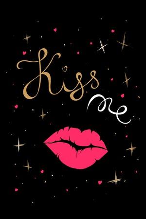 벡터 발렌타인 데이 손 텍스트 나 키스 그려. 핑크 입술 아이콘입니다. 발렌타인 데이 디자인 카드. 일러스트