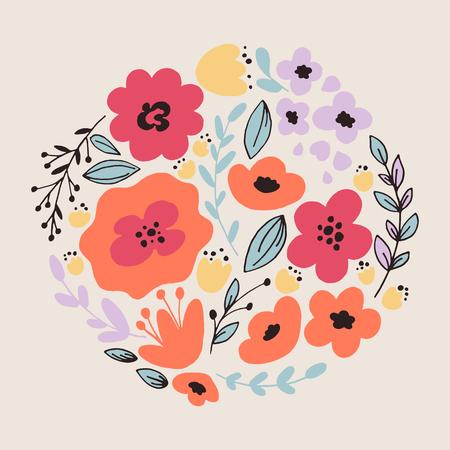 Fantasy flowers card Illustration