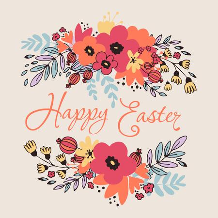 Happy Easter Floral Card Illustration
