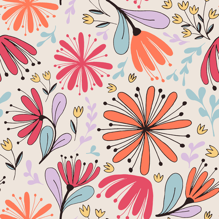 Fantasy flowers seamless pattern