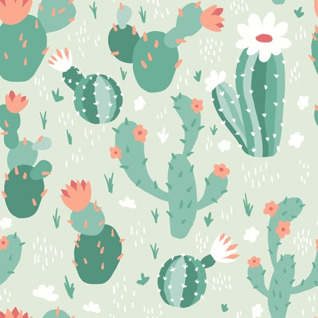 Seamless pattern with cactuses and flowers. Ilustrace