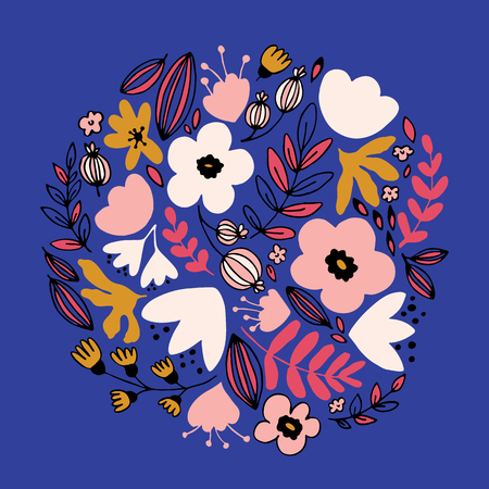 Vector floral circle with leaves and fantasy flowers.
