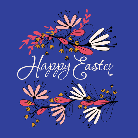 Happy Easter Floral Card Beautiful illustration.