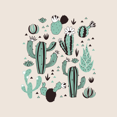 Seamless pattern with cactuses and flowers. Vector background