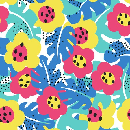 pattern: Tropical floral seamless pattern.