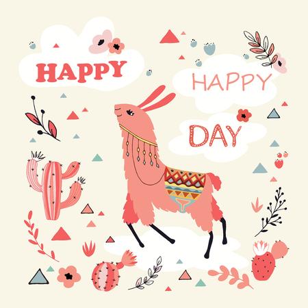 Happy lama card. Illustration